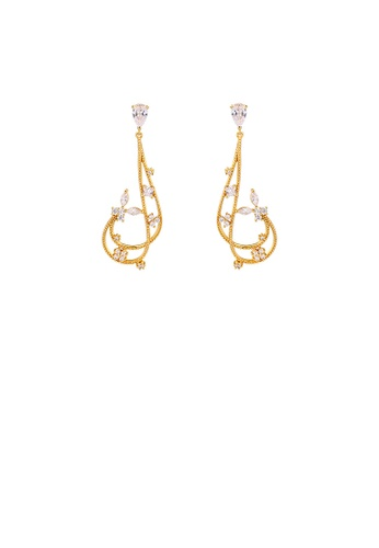 Glamorousky white 925 Sterling Silver Plated Gold Simple Temperament Moon Earrings with Cubic Zirconia C574CAC56E2652GS_1