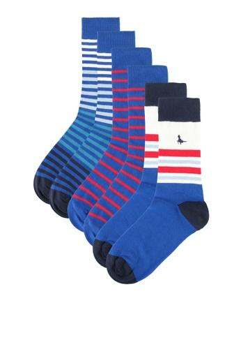 Jack Wills blue Landsall Multi Colour 3pk Socks AC051AA0AB74B5GS_1