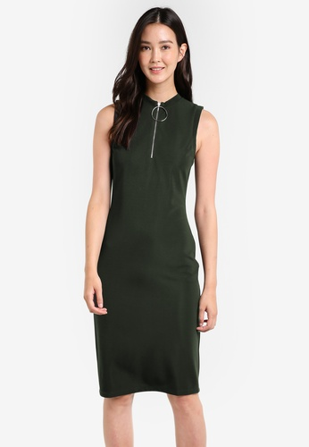 ZALORA green Bodycon Zip Detail Rib Dress DD155AA4948083GS_1
