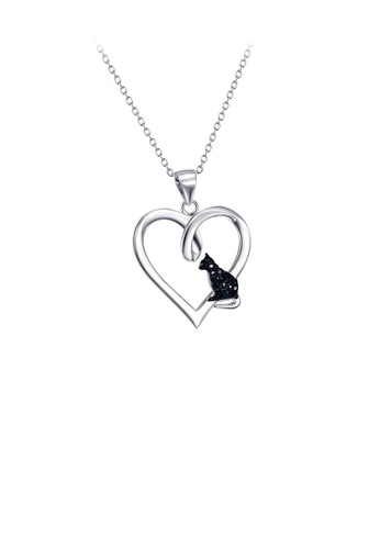 Glamorousky black 925 Sterling Silver Fashion Simple Black Cat Heart Pendant with Cubic Zirconia and Necklace 7611DAC70DB03EGS_1
