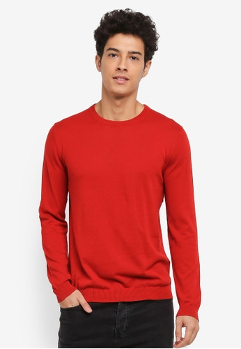 Only & Sons red Lex Fine Crew Neck Knit Jumper 221A5AAB7986FDGS_1