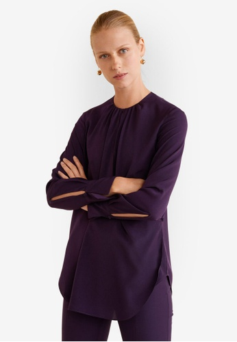 Mango purple Ruched Neck Blouse 26638AAF0F7E56GS_1