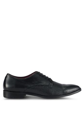 ACUTO black Textured Oxford Dress Shoes AC283SH0SL5EMY_1