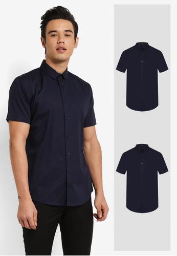 ZALORA white and navy 2 Pack Slim Fit Cotton Poplin Short & Long Sleeve Shirt ZA819AA0RO0RMY_1