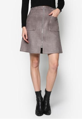 esprit台灣門市雙口袋仿麂皮A 字短裙, 服飾, 裙子