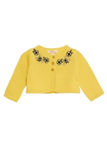 Du Pareil Au Même (DPAM) yellow Embroidered Cardigan B3341KA9C1B9E1GS_1