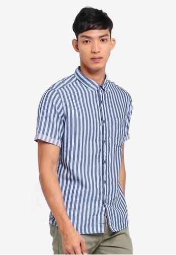 ESPRIT 海軍藍色 Vertical Stripes Shirt A849DAA374D6D2GS_1