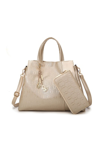 LULUGIFT gold Lulugift US Style 2 in 1 Ladies Multifuctioned Handbag With Wallet Gold LU989AC0RCEDMY_1