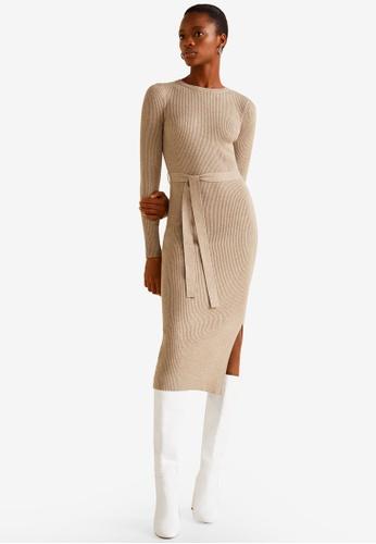 Mango brown Ribbed Midi Dress 5299BAA4C42B09GS_1