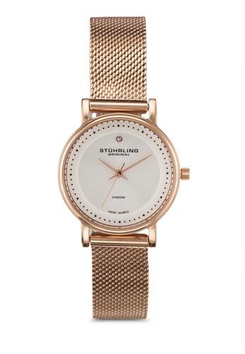 Stuhrling Original gold Rose Tone Mesh Bracelet Watch ST251AC0RFJSMY_1