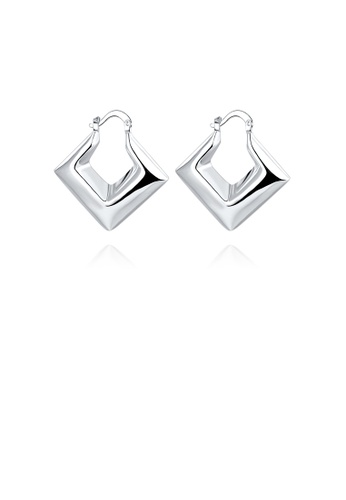 Glamorousky silver Fashion Personalized Geometric Diamond Earrings 943DCACAD978DBGS_1