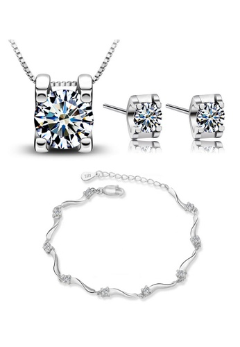 YOUNIQ silver YOUNIQ Box 925 Sterling Pendant with Cubic Zirconia Necklace & Earrings Set (Silver) YO999AC79NOEMY_1