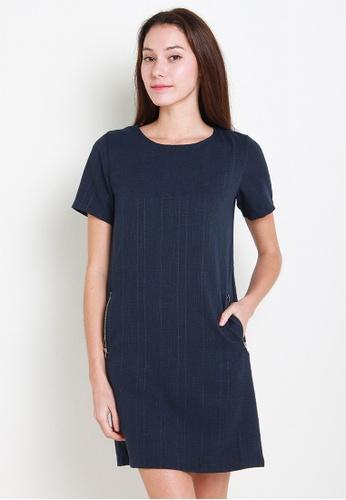 Leline Style blue Karly Shift Tweet Dress LE802AA02QYZSG_1