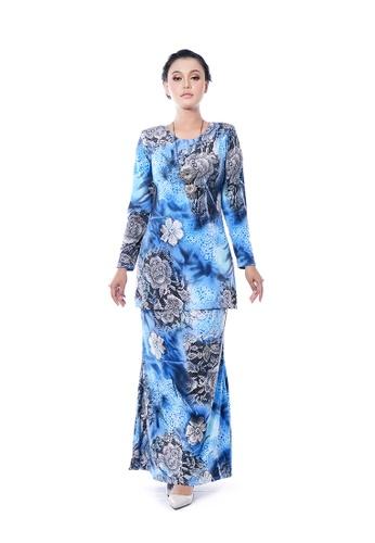 LARA NOUR blue Baju Kurung Aqeela 7AC3CAABCC56F1GS_1