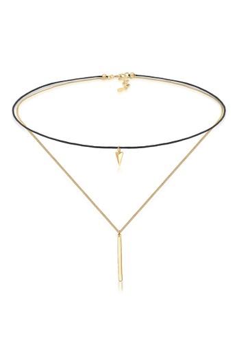 Elli Germany gold Perhiasan Wanita Perak Asli - Silver Kalung Choker Triangle Geo Textile Gold Plated 1A535AC14FB7C1GS_1