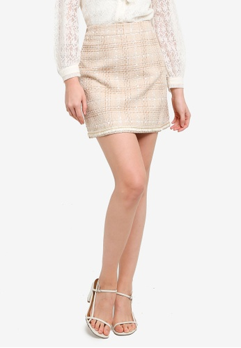 Hopeshow beige High Waist Plaid Mini Skirt 6606BAA3915774GS_1