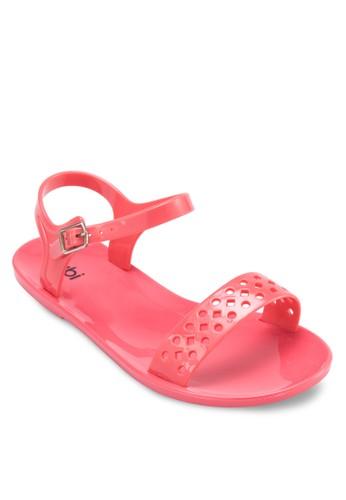 Polly zalora 衣服評價果凍沖孔踝帶涼鞋, 女鞋, 鞋
