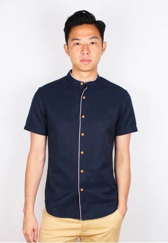 Moley navy Piped Mandarin Collar Short Sleeve Shirt 22055AA2FE3918GS_1