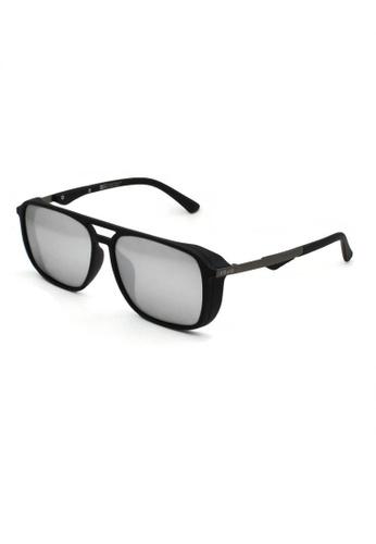 jojo black Rectangular Aviator Thick Side Polarized Sunglasses 075A5GL113A312GS_1