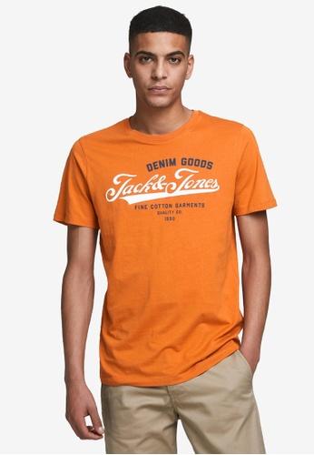 Jack & Jones pink and orange Logo O-Neck Short Sleeve Tee 629E2AA0955220GS_1