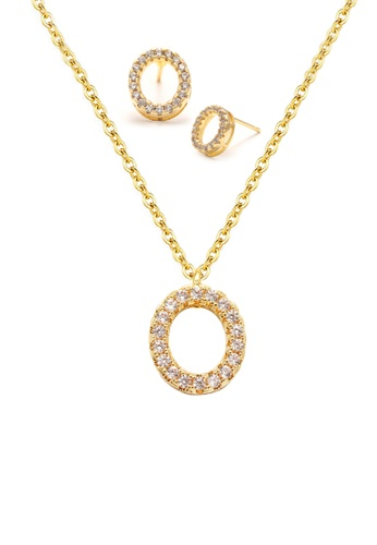 """Atrireal gold ÁTRIREAL - Initial """"O"""" Necklace + Earrings Jewellery Set in Gold 85649AC8F99F23GS_1"""