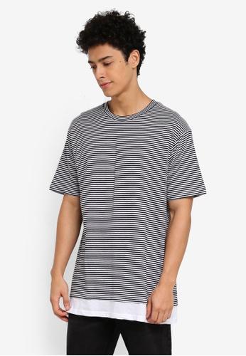 Cotton On 黑色 and 白色 短袖條紋拼接T恤 8BA27AA38C0150GS_1