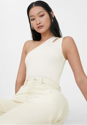 Pomelo white One Shoulder Ribbed Bodysuit - White 6EA93AA5E4191FGS_1