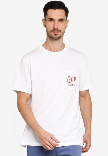 GAP white Pocket Detail T-shirt 5D20CAA88CF679GS_1