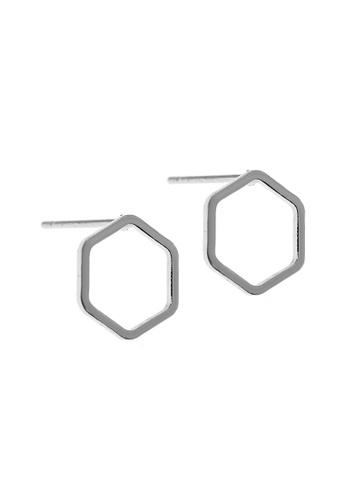 Elfi silver Elfi Stainless Steel Hollow Hexagon Ladies Stud Earrings (Silver) F874DAC0838BAAGS_1