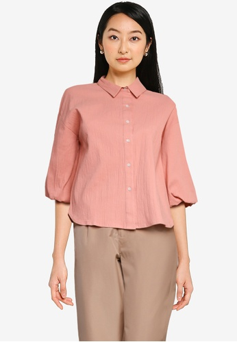 The Duo pink Balloon Sleeve Shirt F06A6AACED5B9FGS_1