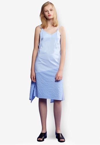 條紋拼接細肩帶洋裝, 服飾, 印花zalora 評價時代