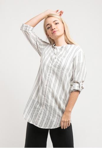 FOREST beige Forest Ladies Woven Long sleeve Mandarin Collar Long Length Shirt - 822018 2A731AAA3A55B7GS_1