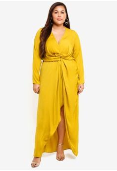 613b42f492c4e MISSGUIDED yellow Plus Size Wrap Knot Front Dress 96F10AA54526B1GS 1