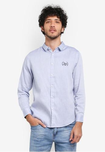 Fidelio 藍色 刺繡長袖牛津襯衫 B6352AA267A9EAGS_1