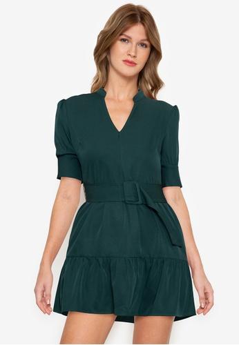 ZALORA BASICS green Puff Sleeve Belted Dress 6B7BBAA20CAECFGS_1