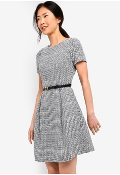 ea0e053bbec1d5 ZALORA BASICS black and multi Basic Fit And Flare Belted Dress  77894AA6F5AB0DGS 1