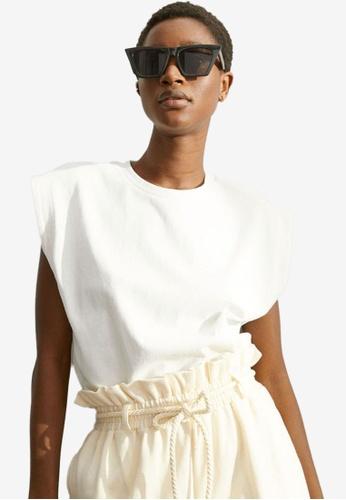 H&M white Cotton Top DD824AA64A624EGS_1