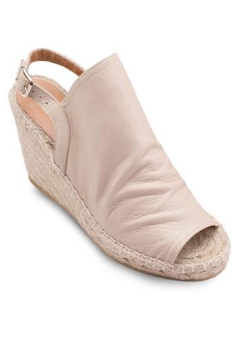 露趾寬帶麻zalora鞋編楔型跟涼鞋, 女鞋, 鞋