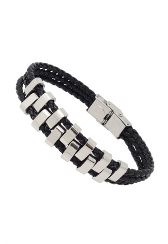 Jaysa Collection black Chic Industrial Men's Stainless Steel Plates Leather Bracelet JA875AC56ZRZSG_1