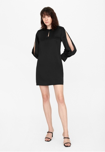 Pomelo black Mini Satin Slit Sleeve Dress -  Black 4A748AA70DC05BGS_1