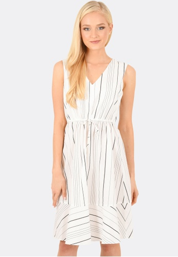 FORCAST white Faith Sleeveless Striped Dress FO347AA0GLNHSG_1