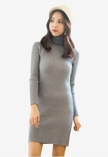 Tokichoi grey Knitted Turtleneck Bodycon Dress 0B2B3AA3DCF769GS_1