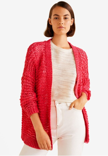 Mango red Open Knit Cardigan 1E79FAA63DD704GS_1