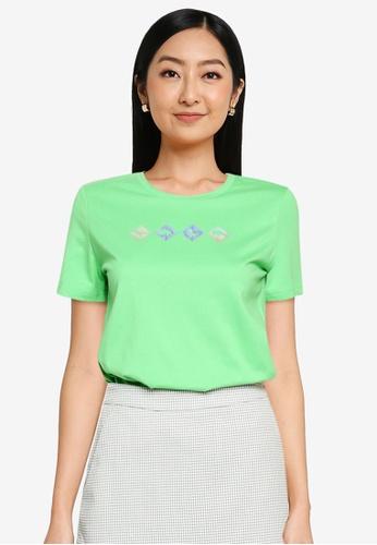 URBAN REVIVO green Casual T-Shirt 9DCB2AAED337BBGS_1