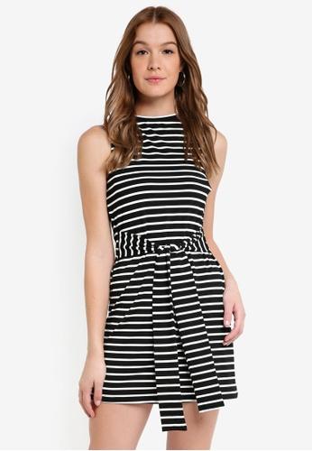 ZALORA BASICS black and white Basic Tie Waist Mini Dress 5EBD1AA98DDD22GS_1