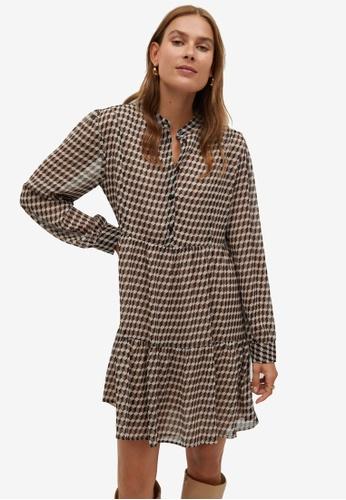Mango beige Flowy Print Dress 623A2AAB794237GS_1