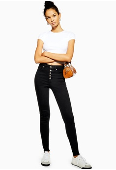 956175c9ca TOPSHOP Black Buttonfly Jamie Jeans RM 249.00. Sizes 26S 28S