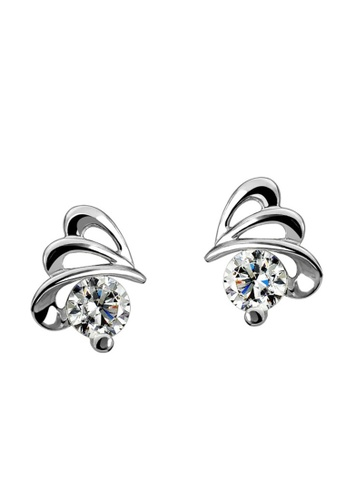 LYCKA silver LFF5208-LYCKA-S925 Siliver White ZirconTrendy Butterfly Earrings-Silver A2D12AC98114C7GS_1