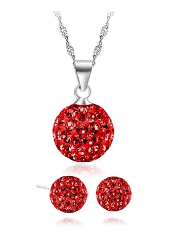 YOUNIQ silver YOUNIQ Korean Fashion 925S Swarovski Elements Necklace Set(Silver Red) YO999AC66KYNMY_1