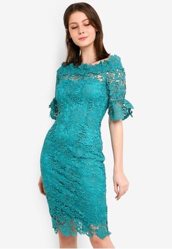 Paper Dolls green Jade Bardot Dress 5B3F2AA731032EGS_1